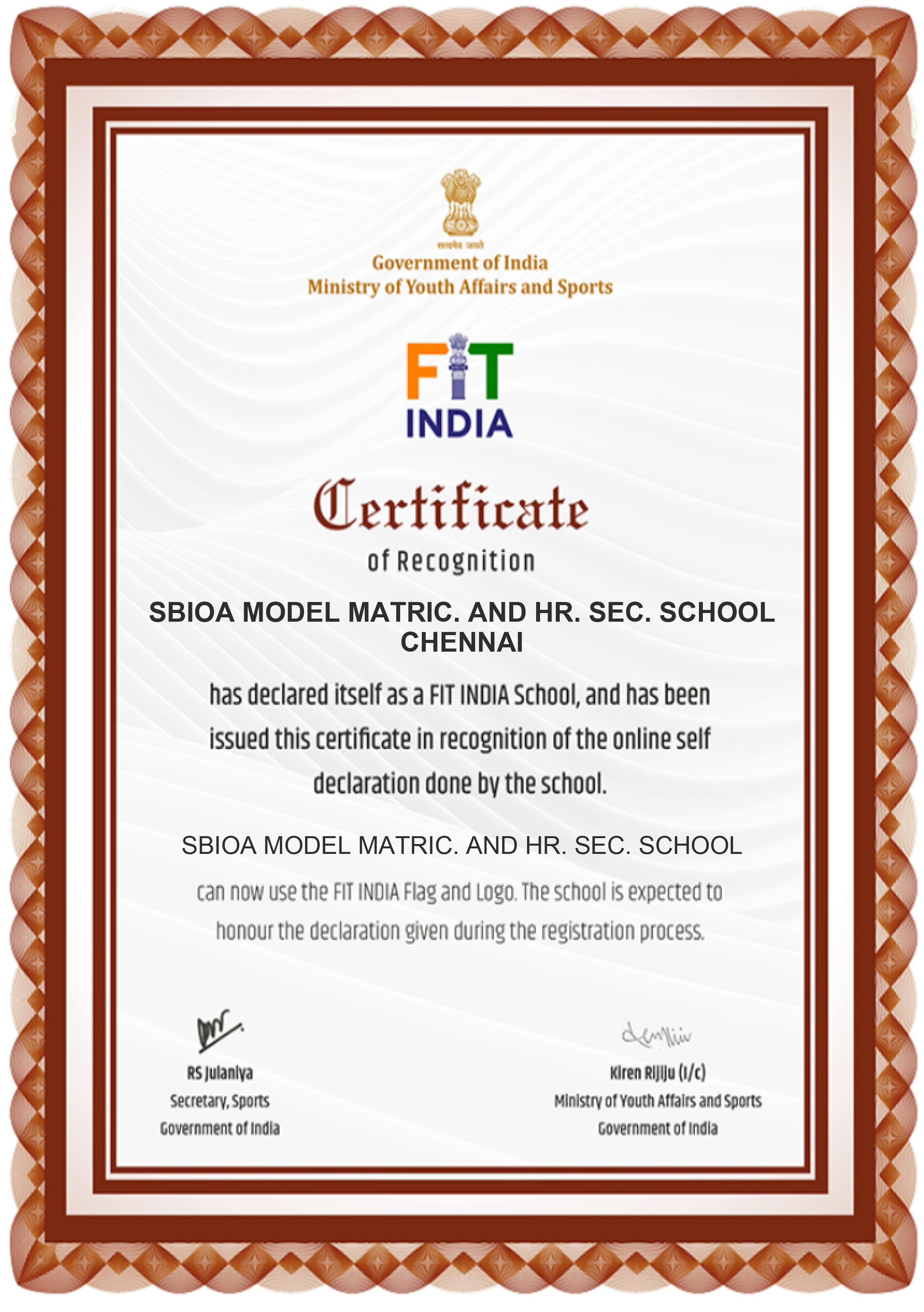 fit india certificate